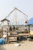 Chinese fishing nets (Cheena vala) in fort Kochin, Kerala, India Royalty Free Stock Photo