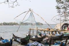 Chinese fishing nets (Cheena vala) in fort Kochin, Kerala, India Stock Photos