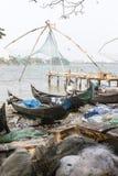 Chinese fishing nets (Cheena vala) in fort Kochin, Kerala, India. Chinese fishing nets (Cheena vala) in fort Kochin, Kerala, South India Stock Image