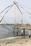 Chinese fishing nets (Cheena vala) in fort Kochin, Kerala, India. Chinese fishing nets (Cheena vala) in fort Kochin, Kerala, South India Stock Images