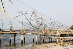 Chinese fishing nets (Cheena vala) in fort Kochin, Kerala, India. Chinese fishing nets (Cheena vala) in fort Kochin, Kerala, South India Royalty Free Stock Photography