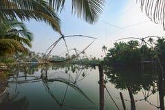 Chinese fishing nets Cheena vala, Kochi district. Kerala state, India Stock Image