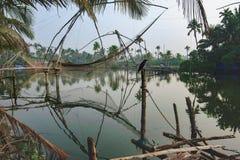 Chinese fishing nets Cheena vala, Kochi district Stock Photo