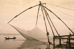 Chinese fishing nets - Cochin - Kerala - India. Chinese fishing nets at dawn in the Fort Kochi area of Cochin in the Kerala region of southern India Royalty Free Stock Photo