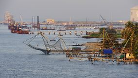 Chinese fishing nets. Details of the Chinese fishing nets of Fort Cochin Stock Images