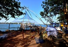 Chinese fishing nets. Details of the Chinese fishing nets of Fort Cochin Stock Photography