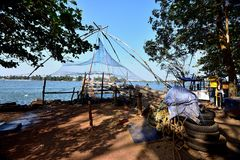 Chinese fishing nets. Details of the Chinese fishing nets of Fort Cochin Stock Photos