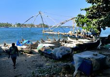 Chinese fishing nets. Fisherman and the Chinese fishing nets of Fort Cochin, January 2017 Royalty Free Stock Images
