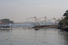 Chinese fishing nets in Fort Cochin stock images