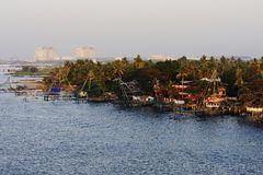 Chinese fishing nets. Of Fort Cochin Stock Images
