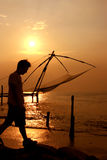 Chinese Fishing Nets. Fort Cochin, Kerala, India. Photo at sunset of Chinese Fishing nets located in southern India Stock Photo