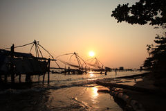 Chinese fishing nets of Fort Cochin Royalty Free Stock Images