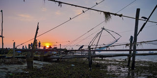 Chinese fishing nets of Fort Cochin Stock Images