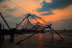 Chinese fishing nets in Fort Kochi. Chinese fishing nets in Fort Kochi, Kerala state, South India Stock Photography