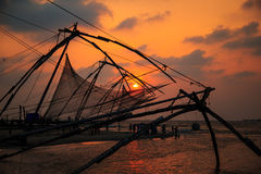 Chinese fishing nets in Fort Kochi. Chinese fishing nets in Fort Kochi, Kerala state, South India Stock Photo