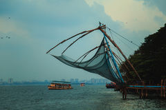Chinese fishing nets in Fort Kochi. Chinese fishing nets in Fort Kochi, Kerala state, South India Royalty Free Stock Photography