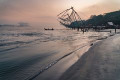 Chinese fishing nets during the Golden Hours at Fort Kochi, Kerala, India 3 royalty free stock image