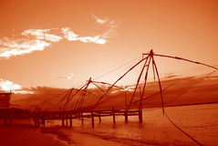 Chinese fishing nets, India. Chinese fishing nets at  Fort Cochin,  Kerala in India Royalty Free Stock Images