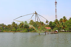 The Chinese fishing nets. Kerala Backwaters Royalty Free Stock Photography