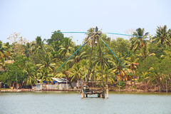 The Chinese fishing nets. Kerala Backwaters Royalty Free Stock Photos