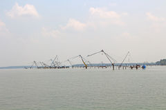 The Chinese fishing nets. Kerala Backwaters Stock Photos