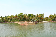 The Chinese fishing nets. Kerala Backwaters Royalty Free Stock Images