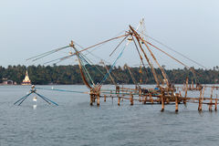Chinese fishing nets in Kerala. India Stock Photo
