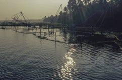 Chinese fishing nets Kerela backwaters royalty free stock image