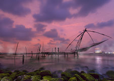 Chinese fishing nets at Kochi, Kerala, India Stock Photos