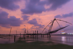 Chinese fishing nets at Kochi, Kerala, India. Chinese fishing at Fort Kochi, Kerala, India Royalty Free Stock Photography