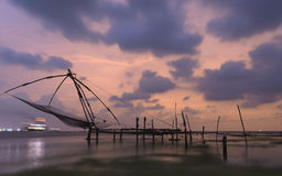 Chinese fishing nets at Kochi, Kerala, India. Chinese fishing at Fort Kochi, Kerala, India Royalty Free Stock Images