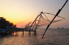 Chinese Fishing nets at sunset Stock Images