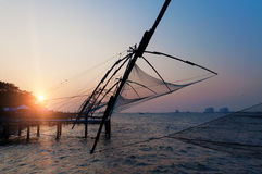 Chinese Fishing nets at sunset Royalty Free Stock Images