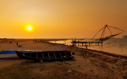 Chinese Fishing nets at sunset. Fort Kochi. Kerala. India Royalty Free Stock Photography