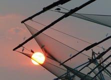 Chinese fishing nets at sunset, Kochi, Kerala Stock Photo