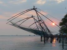 Chinese fishing nets at sunset, Kochi, Kerala Stock Photos