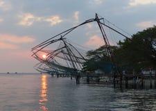 Chinese fishing nets at sunset, Kochi, Kerala Stock Image