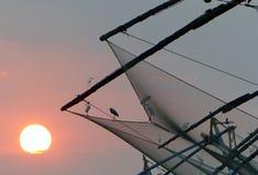 Chinese fishing nets at sunset, Kochi, Kerala Royalty Free Stock Photography