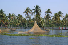 Chinese fishing nets. Vembanad Lake Royalty Free Stock Photos