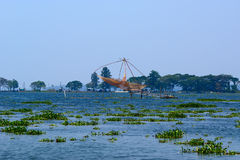 Chinese fishing nets. Vembanad Lake Stock Images