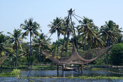 Chinese fishing nets. Vembanad Lake Royalty Free Stock Photo