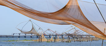 Chinese fishing nets. Vembanad Lake, Kerala Royalty Free Stock Photo