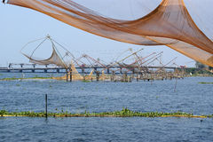 Chinese fishing nets. Vembanad Lake, Kerala, India Stock Photos