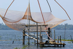 Chinese fishing nets. Vembanad Lake, Kerala, South India Stock Images