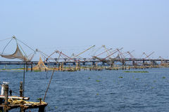 Chinese fishing nets. Vembanad Lake, Kerala, South India Royalty Free Stock Image