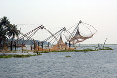 Chinese fishing nets. Vembanad Lake, Kerala, South India Royalty Free Stock Images