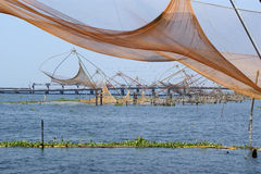 Chinese fishing nets. Vembanad Lake, Kerala, South India Royalty Free Stock Photography