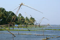 Chinese fishing nets. Vembanad Lake, Kerala, South India Stock Photos