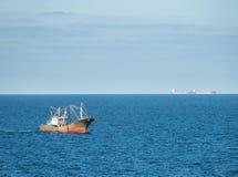 Chinese fishing trawler off the coast of China stock photography