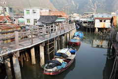 Chinese fishing village. Fishing village Tai O at Lantau island in Hong Kong Stock Photo